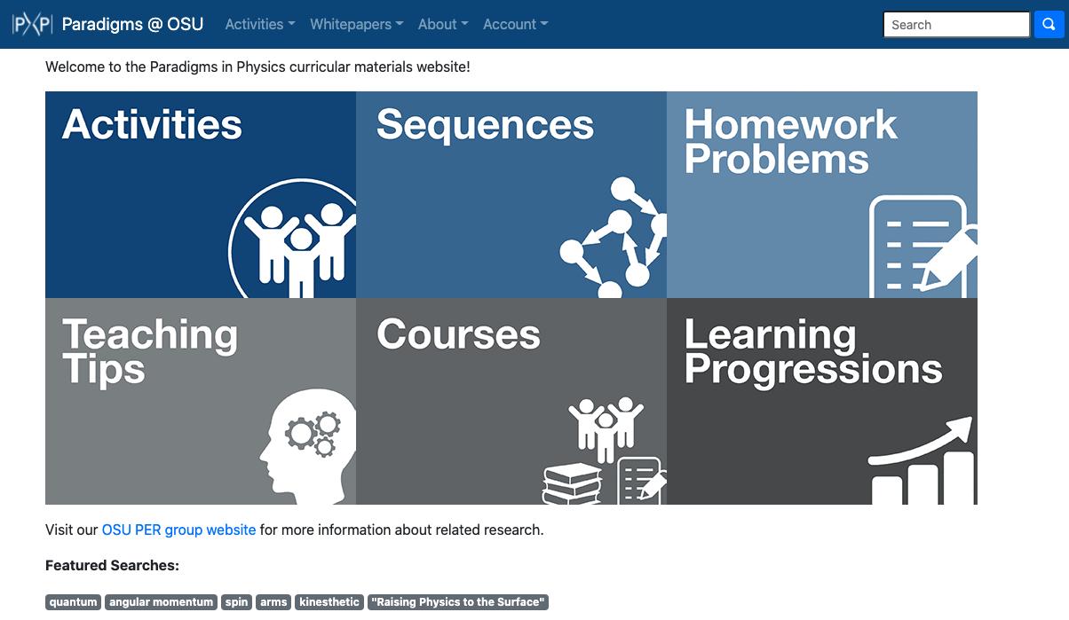 Screenshot of Paradigms Website Homepage